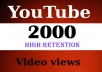 Give You 2000 High Retention + Splitable Youtube Views