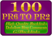 100 blog comments high quality on actual PR6 to PR2