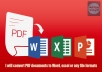 Convert PDF documents to Word, Excel or any file formats for 10 pages