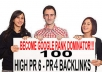 add 100 backlinks pr 6 to pr 4 dofollow BACKLINK to your website and fully backlink report plus bonus worth as 25 dollars