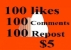 give 100 SoundCloud Likes 100 Reposts 100 Comments