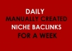 Manually Create High Pr Niche Related BACKLINKS