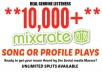 drive 10,000+ Mixcrate Plays To Song or Profile