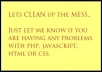 write scripts in php, javascript, html, css