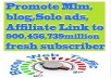 promote Mlm,blog,Solo ads,Affiliate Link to 900,456,739million fresh subscriber