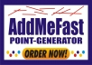 give you addmefast-point-generator to get unlimited points