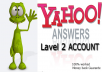 provide 4 level 2 YAHOO answers accounts