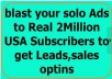 blast your solo Ads to Real 2Million USA Subscribers to get Leads,sales optins