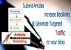 do Manual article submission for SEO n traffic to 25 site