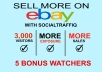 BOOST YOUR EBAY LISTING with 3,000 VIEWS AND 5 WATCHERS FOR YOUR EBAY PRODUCT *Every View and watchers we give you will be 100% REAL GENUINE VIEWERS. All viewers are ACTIVE and have activity within the past 6 hours *We DO NOT use bots, do not be fooled by sellers who use bots *This is great for your profile exposure on eBay by having buyers interact with you worldwide, which will get your product listing and store out there *Views and watchers will also BOOST your internal popularity, authority and rank  BEST EBAY DOMINATION SERVICE *I accept ONE PRODUCT URL per order *1x Base Gig ($5) = 3,000 EBAY VIEWS AND 5 WATCHERS *This gig can be purchase UNLIMITED of times *For more views, order using the Gig Extras accordingly *All orders are processed within 48h. Don't worry about Orders in Queue *100% Satisfaction Guaranteed *Please turn on your visitor counter