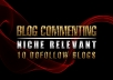 comment 10 niche relevant blogs on dofollow pages
