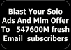 blast Your Solo Ads And Mlm Offer To 547,600Million fresh Email subscribers