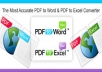 Convert PDF to Powerpoint, Excel or Word and vice versa