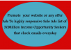 promote your website or any offer to 30m Opportunity seekers