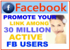 promote Your website Or Any Link To Over 45 Million Active Facebook Users