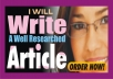 Do Article Writing of 500-600 Words, SEOfriendly