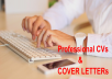 edit and rewrite your cv,resumes and cover letter, cl