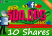 Shares to 500,000 Fans Social Signals