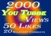 Give Top Quality & Real 2000 YouTube Views