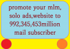 promote your mlm link,solo ads,website to 998,098,576 million targeted subscribers with proofs