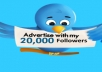 tweet your Link/Message to my twitter with 20,387 REAL Followers