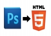 one page full width HTML5 Responsive website (psd to HTML5)