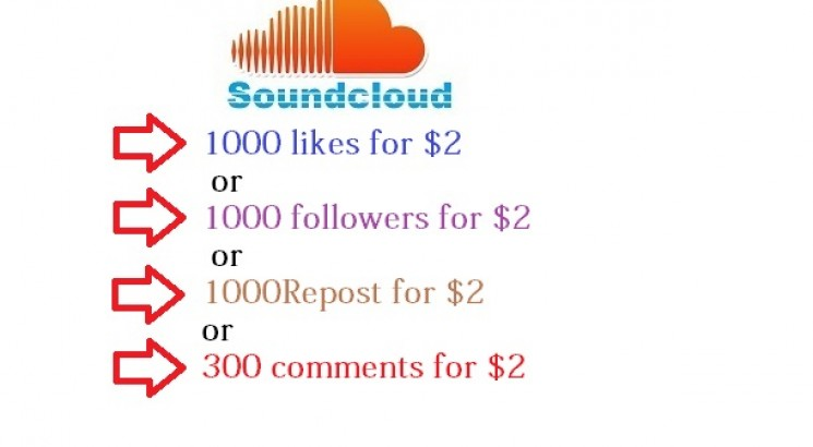 I will give SoundCloud 1000 Likes or 2000 Followers or 2000