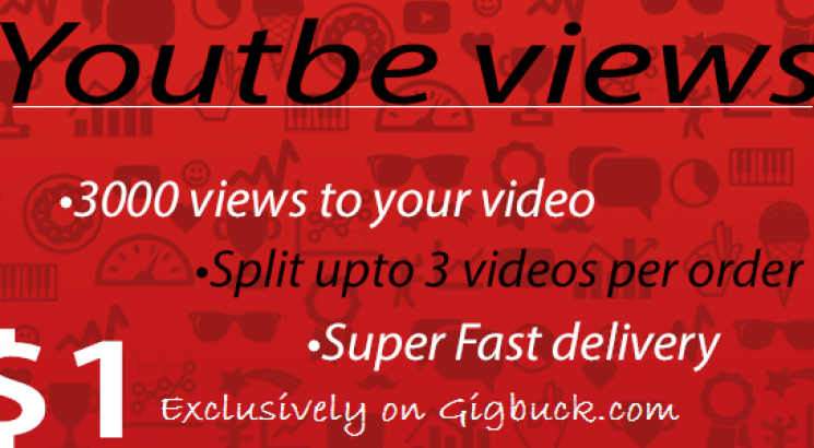 I will Give you superb 3000 views to your Youtube video Super Fast
