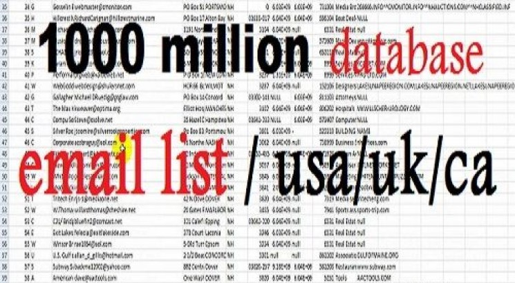 I will give 1000 million database marketing email list with
