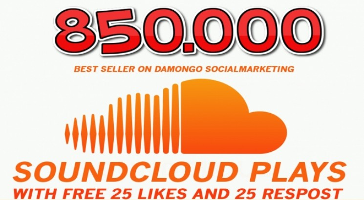 I will give 850,000 SOUNDCLOUD Plays with free 25 Likes and